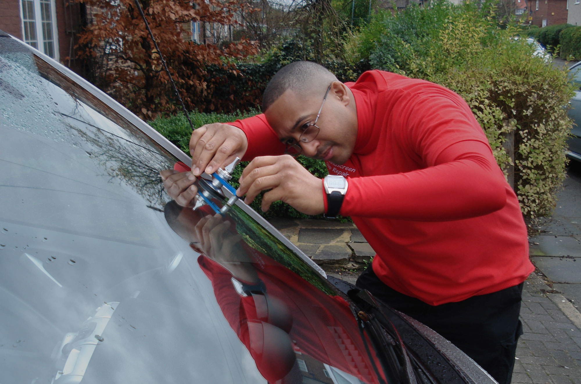 Windscreen Chip Repair being carried out